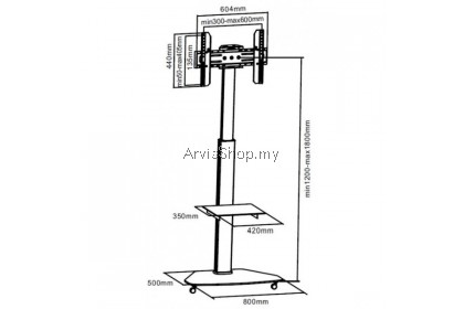 Brateck Portable Contemporary Height Adjustable TV Cart for 37 inches-60 inches - TS119-SVR