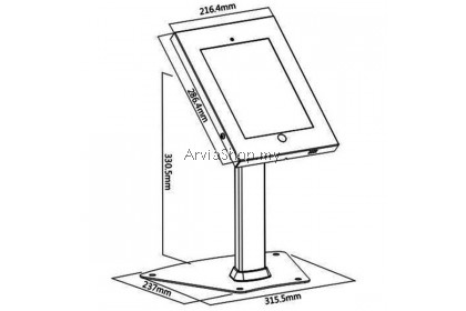 Brateck  Anti-Theft Metal Samsung Tablet Desk Stand -TSPAD12-04A-BLK