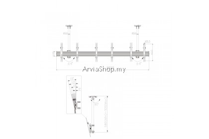 Ceiling Mount Bracket Commercial LED TV for 32-65 inch - LCM3X1U