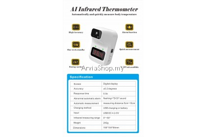 Non-Contact Digital AI Infrared Thermometer With Tripod Stand